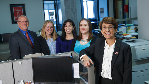 Michelle Graef, research associate professor in the University of Nebraska-Lincoln's Center on Families, Children and the Law, is leading a major research effort to strengthen the nation's child welfare agency workforce and improve children's lives. She is shown with her team (from left), Mark Ells, Kate Stephenson, Megan Paul and Stephanie Weddington.