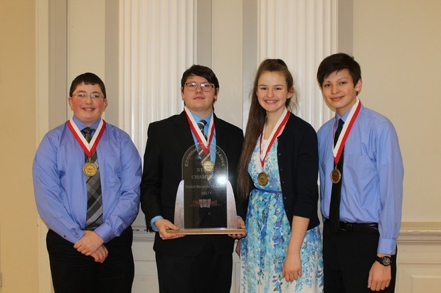 David Ricardo Division state champions from Bellevue East are (from left) Breck O'Grady, Andrew Sansone, Elizabeth Foral and Michael Ermitano.