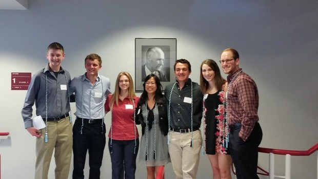 Biochemistry students (from left) Andrew Schacht, Sam Taylor, Brianna Kellar, Tiffany Truong, Colton Roessner, Allison Vlach and Drew Egger were inducted into the American Society for Biochemistry and Molecular Biology Chi Omega Lambda Honor Society.