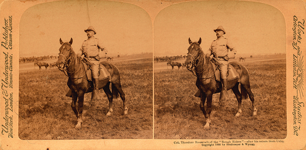 """Col. Theodore Roosevelt of the 'Rough Riders' after his return from Cuba,"" Strohmeyer and Wyman, reproduced by Underwood and Underwood, stereoview, circa 1898"