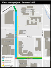 Water main improvements along 14th and Vine streets are bringing temporary traffic changes on City Campus. The work starts in earnest the week of May 14. Click to enlarge.