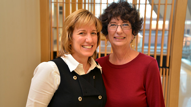 Local philanthropist Rhonda Seacrest (right), pictured with College of Business Dean Kathy Farrell, provided the funding for the Strive to Thrive Lincoln project this semester.