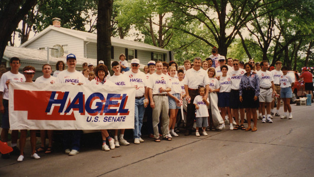 Chuck and Lilibet Hagel pose with Fourth of July parade participants in Ralston in 1996.