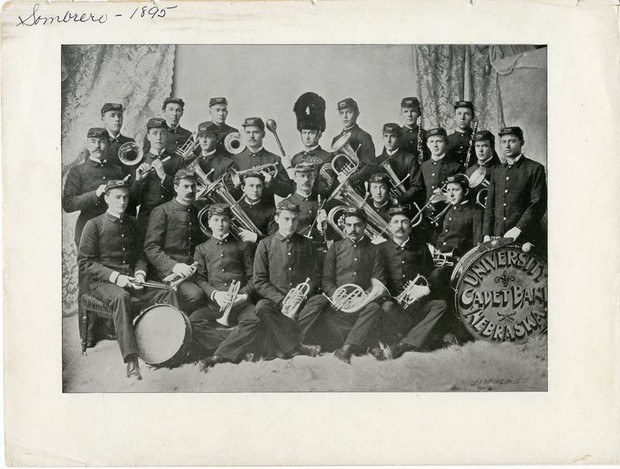 A studio portrait of the ROTC Cadet Band, taken from the 1895 Sombrero student annual.