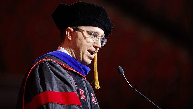 L.J. McElravy gives the commencement address at the graduate and professional degree ceremony Dec. 20 at Pinnacle Bank Arena.