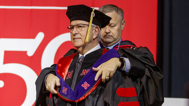 The university presented Mike Johanns with an honorary Doctor of Laws during the undergraduate commencement ceremony Dec. 21 at Pinnacle Bank Arena.