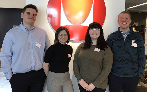 Groundbreakers team members are (from left) Weston Ellerbrake, Eliza Woodside, Ariana Osten and Daniel Kruger. The team's adviser is Brad Severa, an academic technology support specialist with Information Technology Services.