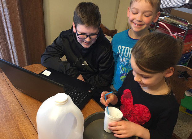 Youth create a glittery volcano during Nebraska 4-H's Living Room Learning livestream March 17.
