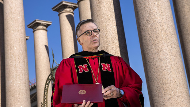 Chancellor Ronnie Green delivers remarks during production of Go Big Grad: A Husker Graduation Celebration. Green officially conferred degrees to the graduates at the end of the celebration.