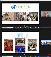 Rose Hood-Buss, executive director of The Hub, and Bill Michener, executive director of Lighthouse, accepted their $5,000 grants from Strive to Thrive Lincoln in a virtual ceremony facilitated by business students.