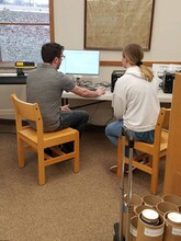 Max Wheeler, instructional designer with Nebraska Innovation Studio, shows a patron how to use a vinyl cutter at the Wayne Public Library in 2019.