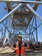 Maddie Johnson, a biological systems engineering graduate from the University of Nebraska–Lincoln, interned with Kiewit Corp. at the Alamitos Energy Center in California in 2018 and is now employed by Kiewit.