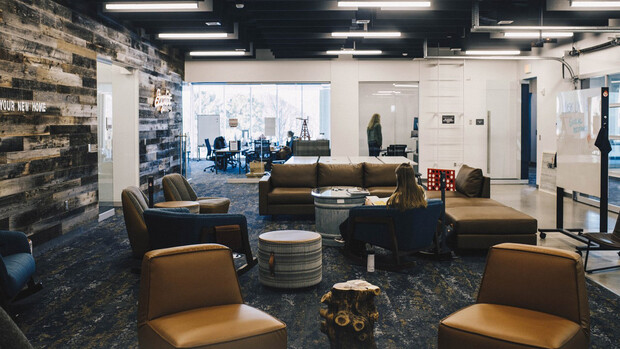 The Engler program's new space in the Dinsdale Family Learning Commons provides a mixture of private offices, studios, collaboration rooms and open-concept community spaces modeled after the essence of a farmstead home.