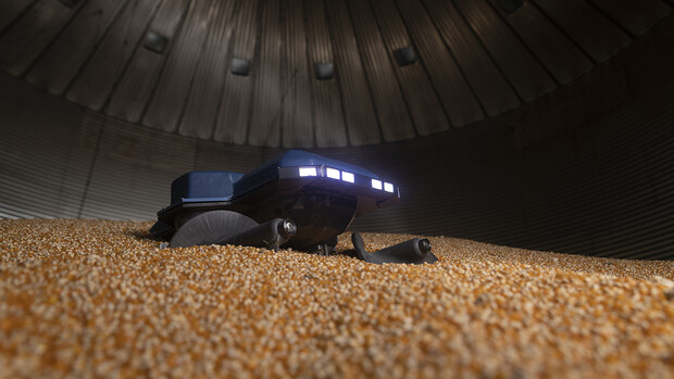 The Grain Weevil is a 30-pound remote-controlled robot that uses augers and gravity to level grain and redistribute it throughout the bin. It is portable, waterproof and dustproof. If it is accidentally buried, it can dig itself out of up to 5 feet of grain.