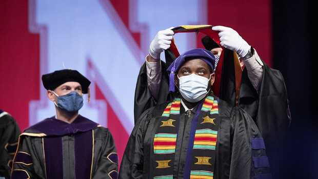 The first graduate of May 2021 was DeAndre' S. Augustus, who received a Master of Laws during the College of Law ceremony May 7 at Pinnacle Bank Arena.