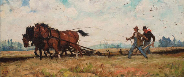 """""""Sons of the Frontier,"""" circa 1940, by Harvey Dunn (1884–1952)."""