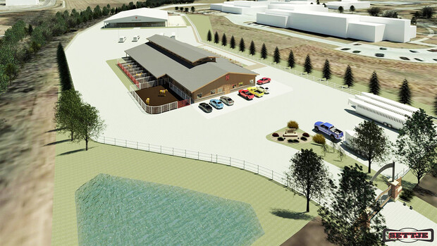 An artist's rendering of the northwest view of the planned Equine Sports Complex, with the equine barn facility in the foreground.