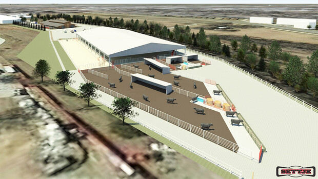 An artist's rendering of the southwest view of the planned Equine Sports Complex, with the equine arena building in the foreground.