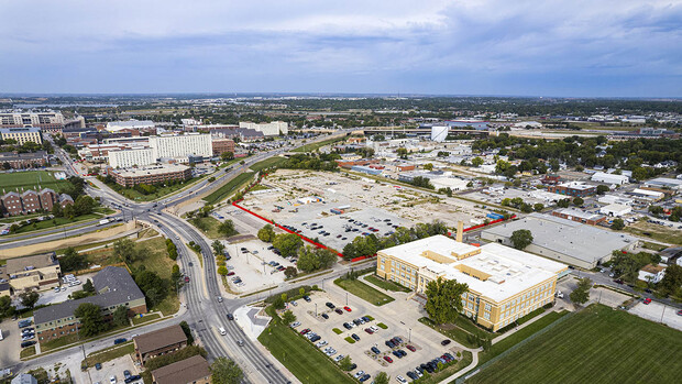 This aerial photo shows the proposed site of the Unity Commons mixed-use development at 2100 Vine St.