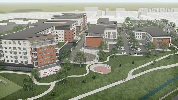 Architect's rendering of how the senior living facilities, plaza and amphitheater might appear, looking east from the Antelope Valley bike trail.