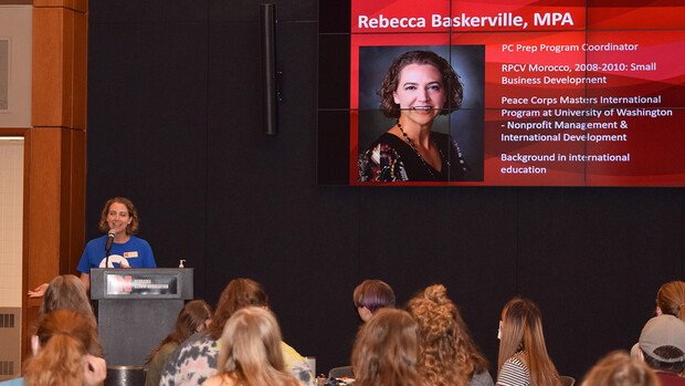 Rebecca Baskerville, Peace Corps Prep program coordinator, shared more about the program and her own Peace Corps experience during the launch event on Sept. 28.