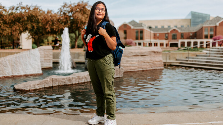 Sandhya Karki stands near Broyhill Fountain at the University of Nebraska–Lincoln.