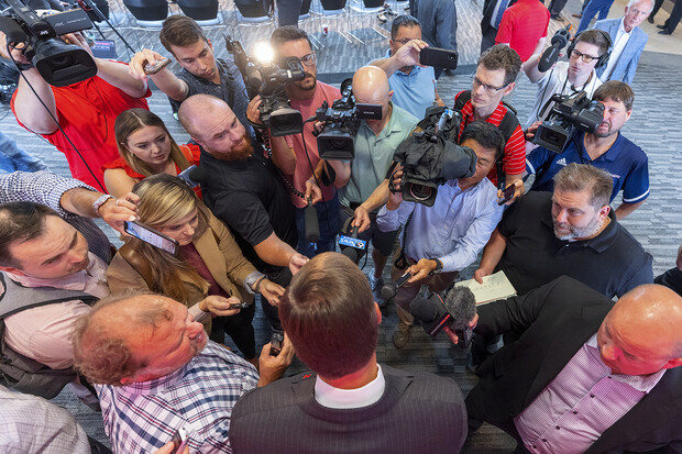 Media members surround Trev Alberts after he was named the University of Nebraska–Lincoln's next athletic director.