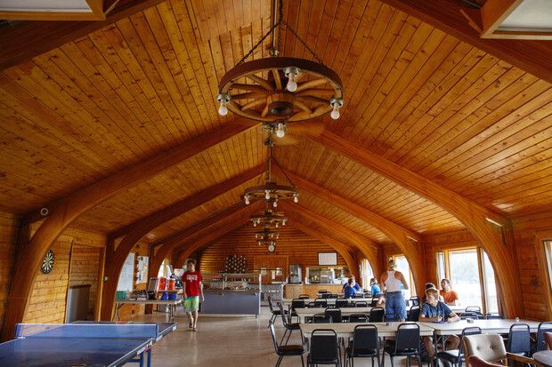 The Cedar Point dining hall begins to fill with students, staff and faculty members.