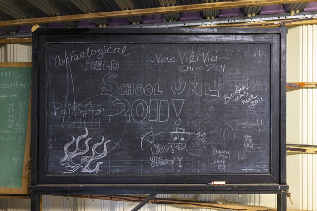 A chalk board was decorated by the last class in 2011 who had a field school at the Reller Prairie Field Station south of Martell, Nebraska.
