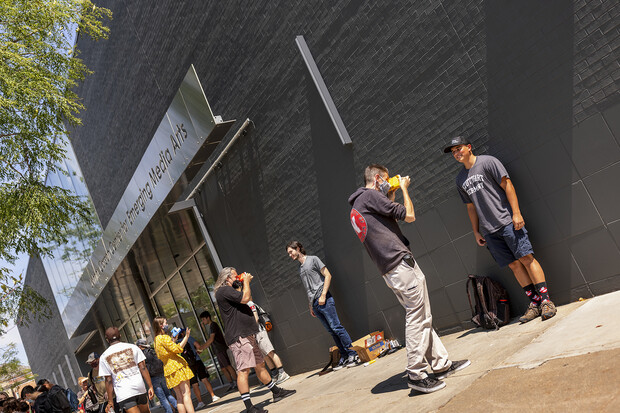 Johnny Carson Center for Emerging Media Arts students gathered outside the building on Aug. 27 for picture day.