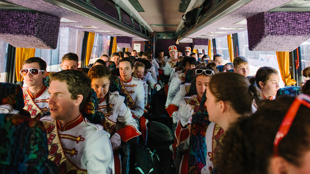 Members of the Cornhusker Marching Band travel via bus as part of the Music City Bowl festivities in December.