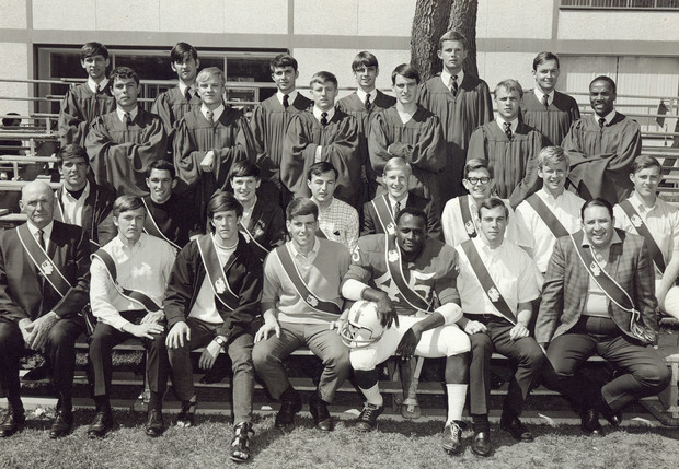 Innocents Society members, including Richard Davis, a Husker running back who played in the National Football League, pose in this image from 1968. Davis, a graduate of Omaha North High School, was drafted by the Cleveland Browns in the 12th round of the 1969 NFL draft. He played a single season in the NFL with the Denver Broncos and New Orleans Saints.