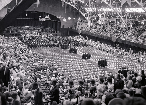 Families and friends file into the Coliseum for commencement in this undated photo.