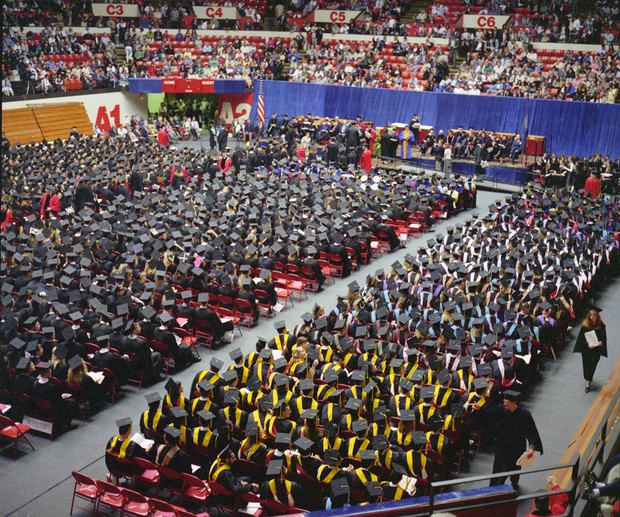 The Bob Devaney Sports Center served as home to Nebraska commencement exercises for a number of years. A doctoral ceremony is pictured here.