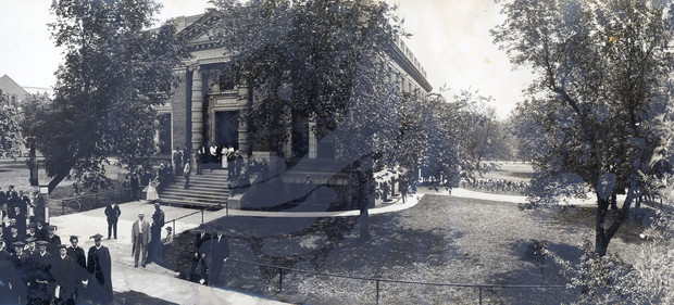 Nebraska's first Administration Building opened in 1905. Designed by Thomas Kimball, the building was demolished in 1963. It was located in the sculpture garden southwest of Sheldon Museum of Art.