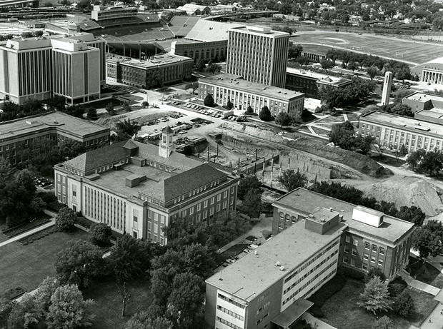 """Aerial view of the Love Library North construction project in 1973. The expansion project opened in 1975. Buildings in the foreground (from left to right) are College of Business Administration, Love Library and Canfield Administration Building. This image is included in Kay Logan-Peters' new book, """"University of Nebraska–Lincoln."""""""