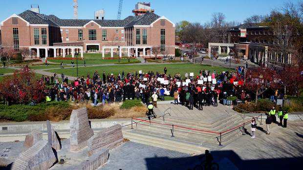 "A student-organized ""Black Lives Matter"" rally was attended by hundreds of students, faculty, staff and the public on Nov. 19."