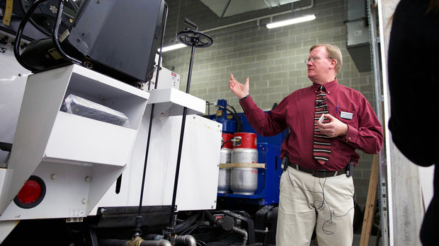 Glen Danischewski, vice president for Rink Management Services Corporation, talks about the electric Zamboni used on the ice in UNL's new John Breslow Ice Hockey Center. Rink Management Services was hired by UNL to manage the ice center.