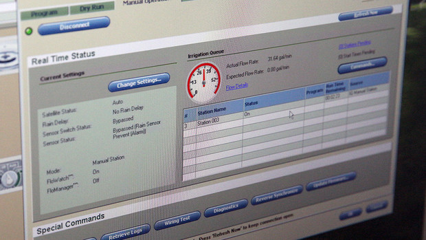 The computer-controlled irrigation system allows landscape services employees to log in and monitor watering across campus. The system provides real-time information on current irrigation, including water pressure (red gauge), and total water being used. It also can issue alerts if it detects problems within the irrigation network.