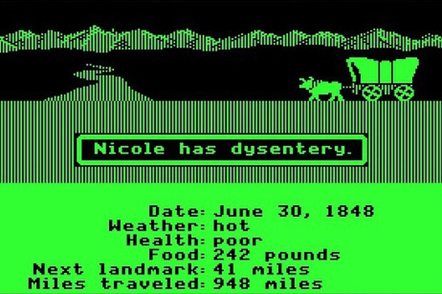 Original view, featuring dysentery illness, from the Oregon Trail game.