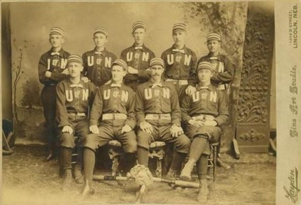 Nebraska's first baseball team took the field for the 1883-1884 season, making it the university's oldest intercollegiate sport. Pictured here is the team from the 1887-1888 team, which was the first to be photographed.