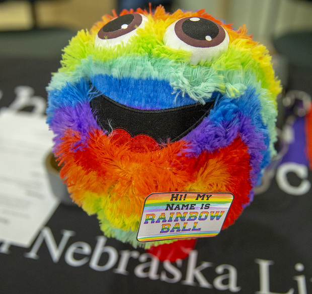 A multi-color ball greeted students at the door to the 2019 Rainbow Ball.