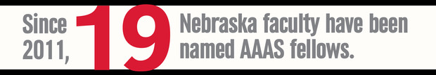 Since 2011, 19 Nebraska faculty have been named AAAS fellows. Nebraska has 34 faculty overall who are AAAS fellows.