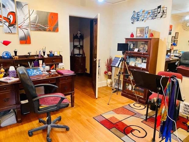Diane Barger's plans to use her home studio to lead remote instruction during the spring semester.