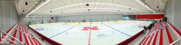 Panorama from center ice inside UNL's new John Breslow Ice Hockey Center.
