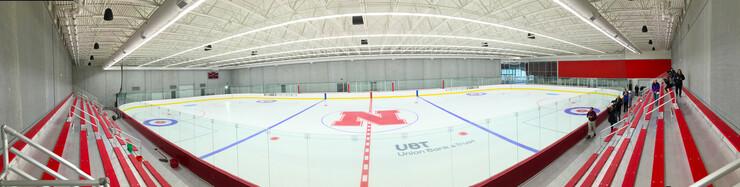 Panorama from center ice inside UNL's new John Breslow Ice Hockey Center.