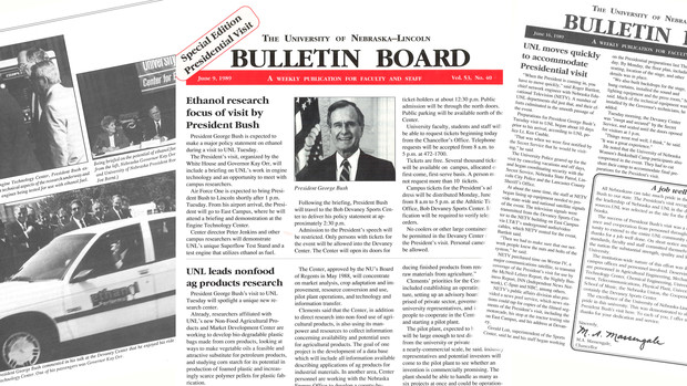 President George Bush's 1998 visit to Nebraska was chronicled in the Nebraska Bulletin, a newsletter for faculty and staff. Read the coverage at http://bit.ly/2AP51nz.