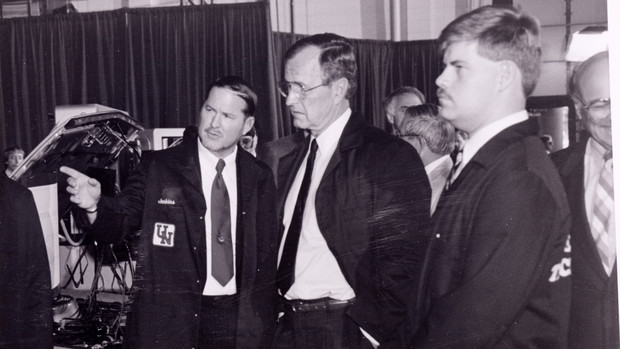 President George H.W. Bush tours Nebraska research facilities during his June 13, 1989 visit to campus. The stop included a Devaney Sports Center speech about renewable energy sources.