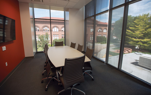 The Behlen Laboratory renovation included the addition of two conference rooms, including this smaller on on the second floor overlooking Richards Hall.