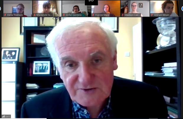 """On June 8, students in the """"Negotiating Peace"""" course met with former Irish Prime Minister Bertie Ahern to learn about his role in the 1998 Good Friday Agreement after the class participated in a mock negotiation of the Northern Ireland peace process."""
